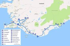 Suggested Iceland winter trip itinerary map