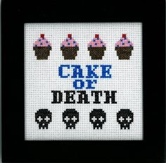 PATTERN - Eddie Izzard - Cake or Death Cross Stitch. Maybe a gift for Lillienthal Kehlet ; Cross Stitching, Cross Stitch Embroidery, Cross Stitch Patterns, Cross Stitch Skull, Needle And Thread, Thread Art, Needlepoint, Needlework, Sewing Projects