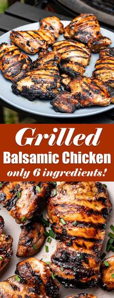 This is an easy grilled chicken recipe that uses boneless skinless chicken thighs. The marinade is simple but full of tangy and sweet flavor. You only need 6 ingredients to make this super flavorful grilled chicken! Herb Recipes, Clean Recipes, Grilling Recipes, Real Food Recipes, Healthy Recipes, Yummy Food, Marinated Grilled Chicken, Balsamic Chicken, Grilled Food