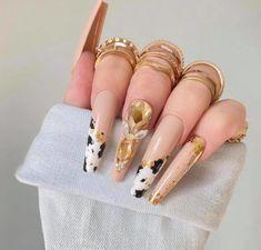 New Nail Trends, Spring Nail Trends, Spring Nails, Long Square Acrylic Nails, Cute Acrylic Nails, Cow Nails, Nail Photos, Spring Design, Press On Nails