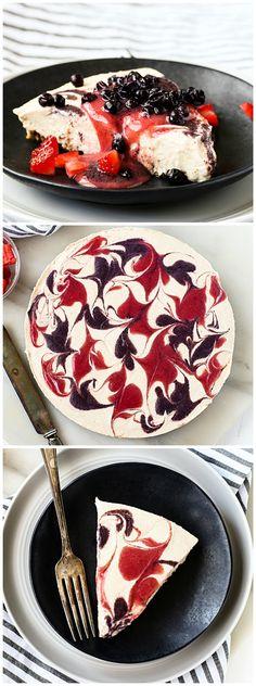 No-Bake Vegan Strawberry + Blueberry Swirl Cheesecake w/ Crisp Pecan Crust   Richly decadent, yet surprisingly healthy!