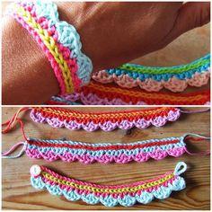 Crochet pattern for a cute colorful bracelet and knitting knit knitting crochet diy Crochet Diy, Love Crochet, Learn To Crochet, Crochet Crafts, Yarn Crafts, Crochet Projects, Simple Crochet, Crochet Ideas, Crochet Hooks