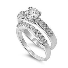 Solitaire 18K White Gold Round Simulated Diamond Engagement Ring Set