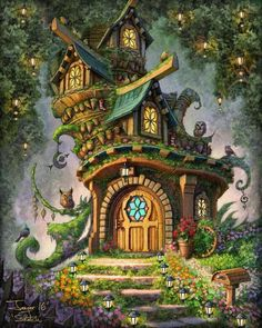 Sherri55 - Decorah North - Fairy house Fantasy Forest, Fantasy House, Fantasy World, Illustration Fantasy, House Illustration, Illustrations, Fantasy Art Landscapes, Fantasy Landscape, Fantasy Concept Art
