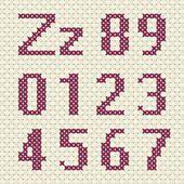 Cross stitch alphabet and number. — Vetor de Stock #76602285