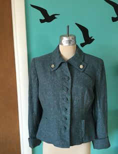 A Vision in Teal Tweed - 1950's New Look Wool Suit Jacket - AS IS by Kinfauns on Etsy