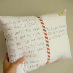 Postcard Pillow for missionary!