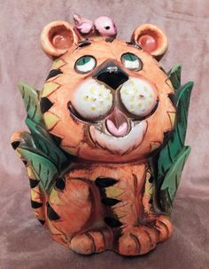 Vintage Napcoware 60's Tiger Coin Bank by MoonbearConnections