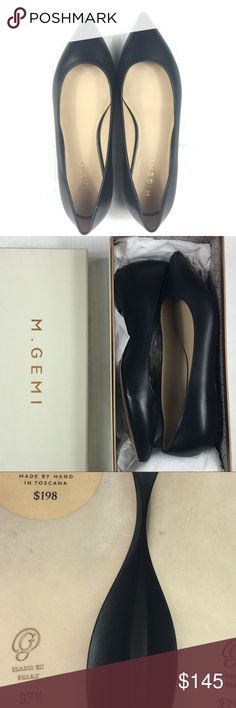 M. Gemi Fortuna Flats Black Leather 37.5 Size: 37.5 (7W and 7.5N) Color: Black  Leather  Condition: New with original box with dust bag, but does have several flaws (see last images for details)  Purchased from a sample sale in NYC. Shoes are brand new but may have slight wear on soles from in-store try ons. Box may also have wear from handiling. M. Gemi Shoes Flats & Loafers