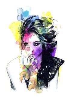 Milla fashion portrait girl watercolor tye and dye face Art Print