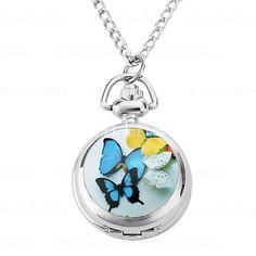 Relógio colar borboleta analógico (prata)
