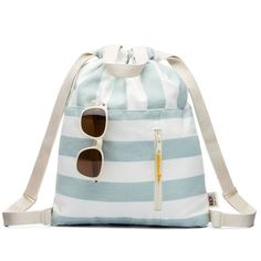 Modern sky blue and white stripe cotton canvas drawstring backpack with handles, adjustable shoulder straps and an open and zippered front pocket finished with an Ultrasuede pull. All our cottons bags are soft, lightweight and foldable for maximum co Small Drawstring Bag, Cotton Drawstring Bags, Cotton Bag, Drawstring Backpack, Cotton Canvas, Rucksack Backpack, Canvas Backpack, Canvas Tote Bags, Striped Bags