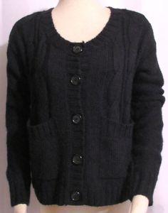 NEW Womens Ladies KENSIE PIECES Black Button Front Cardigan Sweater M Orig $88 #Kensie #Cardigan