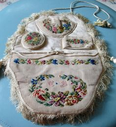 Antique Embroidered Sewing Chatelaine / Reticule - Victorian or Older.