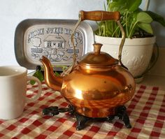 Vintage Solid Copper Tea Pot
