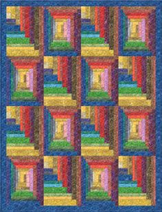 Batavian Batiks Flourish Logs Quilt Pattern