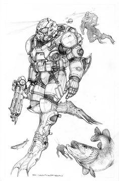 199 best science fiction battle armor weaponry images highlight GTA V Poster rifts ng bullfrog hibious body armor by chuckwalton on deviantart sci fi armor gundam art