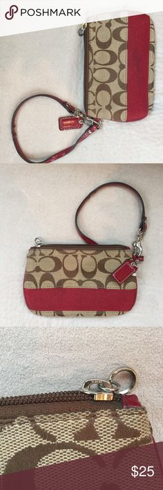 Coach red striped Wristlet Cute Wristlet by coach, has a red stripe, red paten leather trimming, paten leather strap, zipper closure, approx H 4.5 L 7 D 1, has a mark on red stripe, some strap wear from use, Wristlet in overall good condition✅REASONABLE OFFERS WILL BE CONSIDERED✅✳️😃 Coach Bags Clutches & Wristlets