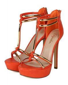 Women's #Fashion #Shoes: Paprika AH23-Cristo-S Women Leatherette Open Toe Gold Plating Platform Stiletto Heel - Orange: #Heels/Dorothy Johnson