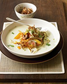 Pan-fried until crisp, shallots are served as a crunchy garnish; coconut milk, ginger, plus the heat of jalapeno add up to Asian flavor.