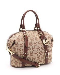 e8249c7d5a MICHAEL Michael Kors Medium Bedford MK Logo Monogram Satchel Beige Mocha  Leather Trim This bag is magnificent!