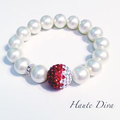 Haute-Diva.com one of a kind custom jewelry all handmade!  The perfect gift for Valentines Day or wedding gift!  Radiant with the single red ombré swarovski crystal bead!  Perfect bridesmaid gift!