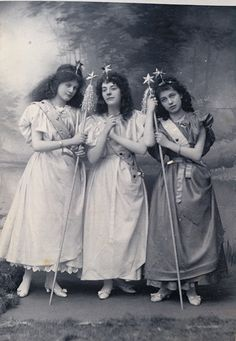 """Torquay Operatic Society (amateur), """"Iolanthe,"""" 1898, Miss M Hill (Celia) Miss Tothill (Leila) Miss H Palk (Fleta), costume design heavily influenced by the costumes of the original DOC production and subsequent DOC tours."""