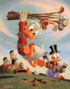 Rare Disney Donald Duck Golf Art - Carl Barks Signed - Litho Vintage Authentic in Collectibles, Disneyana, Contemporary Posters, Prints & Lithos Disney Duck, Disney Art, Walt Disney, Donald Disney, Disney Images, Don Rosa, Mickey Mouse, Donald And Daisy Duck, Uncle Scrooge