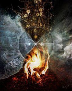 Los Cuatro Elementos: Agua, aleja mis tristezas Aire, purifica mis pensamientos Tierra, fortalece mi cuerpo  Fuego, hazme trascender la realidad..