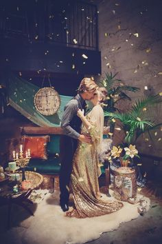 New Years' kisses :) // styling by PowWowVintageRentals.com // photo by MarilynNakazato.com