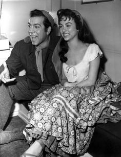Mario Lanza with Rita Moreno on the set of The Toast of New Orleans, 1950, directed by Norman Taurog.