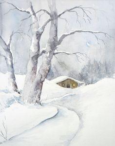 Winterspaziergang - Aquarell - Original - 24 x 30 cm | Antiquitäten & Kunst, Kunst, Aquarelle | eBay!