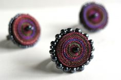 Textile rings red, special offer - Handmade textile jewelry - OOAK ready to ship Fiber Art Jewelry, Textile Jewelry, Paper Jewelry, Fabric Jewelry, Jewelry Art, Beaded Jewelry, Jewelry Design, Gifts For Women, Gifts For Her