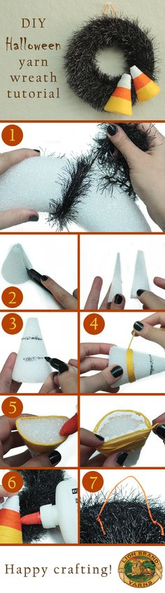 cute and easy diy halloween wreath - just wrap black garland around styrofoam ring and cut styrofoam cone in half to wrap string around like candy corn and attach to wreath.