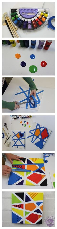 Make a clean easy painting with blue masking tape and paint!