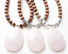 MOUNTΔIN MΔMA Mala - Rose Quartz, Howlite, Lava Rock and Sandalwood Mala Necklace - meditation, yoga, bohemian, jewelry