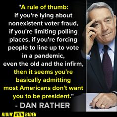 DAN RATHER IS RIGHT: by blocking people from voting, Trump is ADMITTING he would lose a fair election. John Cornyn, Dan Rather, Life Quotes, Funny Quotes, Political Quotes, Truth Hurts, Reality Check, Republican Party, Things To Think About