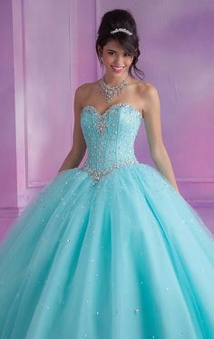 New Fashion Ball Gowns Sweetheart Crystals Details Pink / Blue Soft Tulle Princess Quinceanera Dresses for Sweet 16 Years Sweet 16 Dresses, 15 Dresses, Ball Dresses, Pretty Dresses, Dress Outfits, Fashion Dresses, Wedding Dresses, Formal Dresses, Pretty Quinceanera Dresses