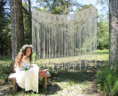 Large macrame wall hanging Wedding backdrop Bohemian by Jonatis