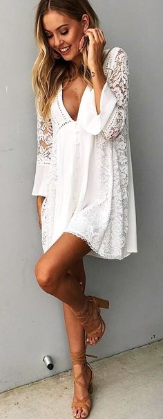 #spring #outfits White Lace Dress Nude Sandals