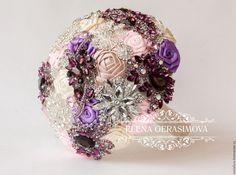 purple pink Fabric Bouquet Unique by feltdaisy Wedding Brooch Bouquets, Bridesmaid Bouquet, Fabric Bouquet, Bouquet Toss, Peonies Bouquet, Pink Fabric, Wedding Sets, Flower Brooch, Unique Weddings