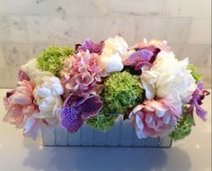 Fine Silk Floral Arrangement Faux mixed Peonies, Orchids, Hydrangea and Viburnum in Glamour Vase by La Fleur
