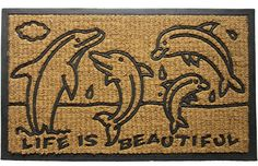 Imports Decor Rubber Back Coir Doormat, Dolphin Family, by ** Check this awesome product by going to the link at the image. (This is an affiliate link and I receive a commission for the sales) Dolphin Family, Indoor Door Mats, Beach Gifts, Coir Doormat, Deco Mesh Wreaths, Dolphins, Decorative Pillows, Hand Weaving, Vulcanized Rubber