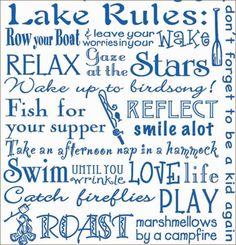 "THE LAKE RULES - Lake Life Quotes 100% Cotton Flour Sack Dish Towel / Tea Towel, 26"" x 26"""