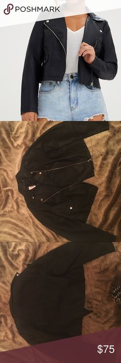 Black Leather Jacket Perfect lightweight faux leather jacket . Too big on me , though . Brand new . ( Always up for reasonable offers ! 🙂💞 ) Jackets & Coats