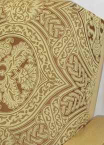 Palazzo Sedona Fabric Offers Impeccable Woven Pattern On A Rich Brunt Background With Accents In Gold And Rust