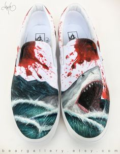 Custom Vans Hand Painted Shoes Great White Shark by BearGallery Painted Canvas Shoes, Custom Painted Shoes, Painted Vans, Painted Sneakers, Hand Painted Shoes, Canvas Sneakers, Vans Bape, Custom Vans Shoes, Aesthetic Shoes