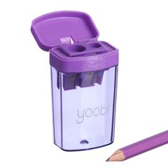 Clever purple sharpener with extra-large bin   Yoobi.com