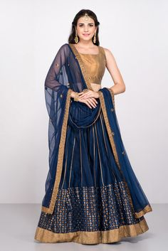 1ef6af2abbd7b DADDY S PRINCESS BY PRIYANKA Navy Blue   Gold Woven Lehenga Choli With  Dupatta