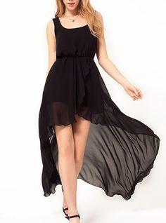 Wide Dovetail Chiffon Black Dress http://udobuy.com/goods-11324.html#.UWy4D6LGBYQ